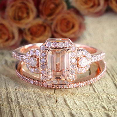 Huge Sale 1.50 carat Morganite and Diamond Halo Bridal Wedding Ring Set Designer Style