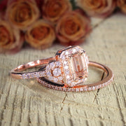 Huge Sale 1.50 carat Morganite and Diamond Halo Bridal Wedding Ring Set in Rose Gold Designer Style