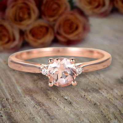 Limited Time Sale Trilogy Three Stone 1.10 carat Morganite and Diamond Engagement Ring