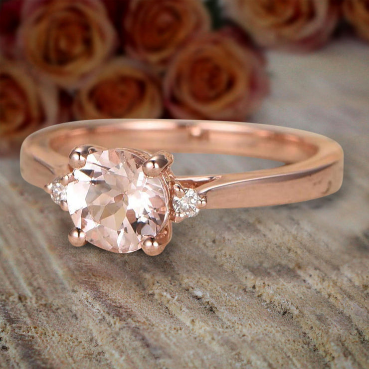Limited Time Sale Trilogy Three Stone 1.10 carat Morganite and Diamond Engagement Ring 10k Rose Gold