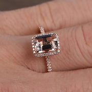 1.50 Carat Peach Pink Morganite (emerald cut Morganite) Diamond Halo Engagement Ring