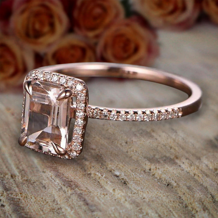 1.50 Carat Peach Pink Morganite (emerald cut Morganite) Diamond Halo Engagement Ring 10k Rose Gold