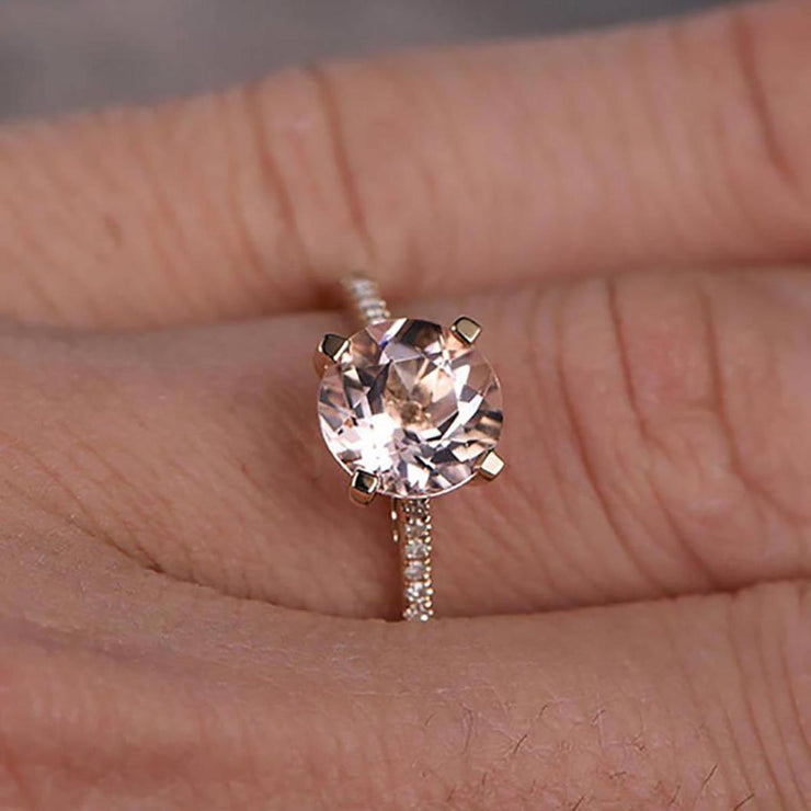 Limited Time Sale: 1.25 Carat Peach Pink Morganite and Diamond Engagement Ring