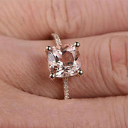 Huge Sale: 1.25 Carat Morganite (cushion cut Morganite) and Diamond Engagement Ring in 10k Rose Gold