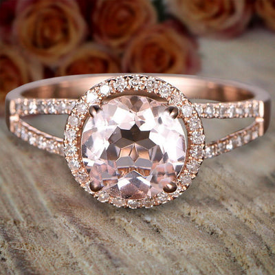 Limited Time Sale Antique Halo 1.50 carat Morganite and Diamond Halo Engagement Ring 10k Rose Gold