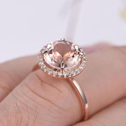 Huge Sale Antique Design Halo 1.25 carat Morganite and Diamond Halo Engagement Ring in 10k Rose Gold