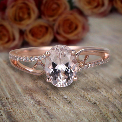 Limited Time Sale Antique 1.25 Carat Peach Pink Morganite and Diamond Engagement Ring 10k Rose Gold