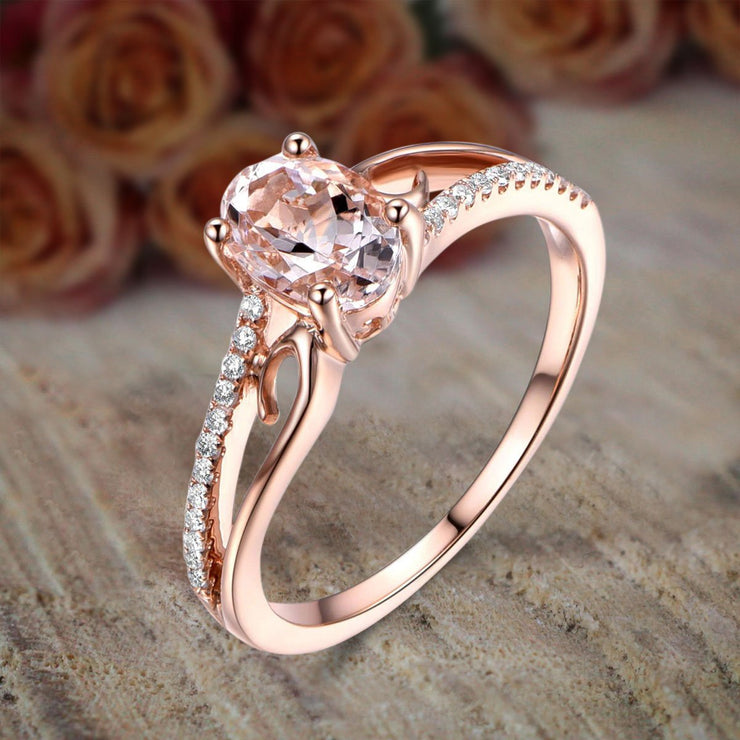 Limited Time Sale Antique 1.25 Carat Peach Pink Morganite and Diamond Engagement Ring