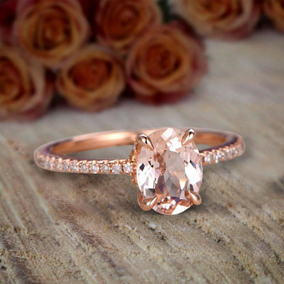 Desinger Classic 1.25 Carat Peach Pink Oval Cut Morganite and Diamond Engagement Ring
