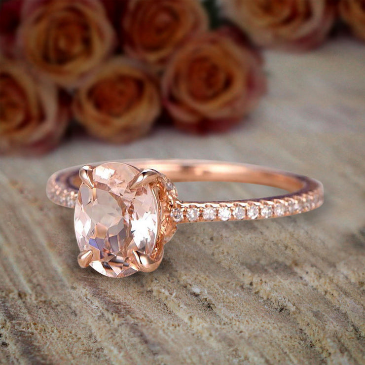 Desinger Classic 1.25 Carat Peach Pink Oval Cut Morganite and Diamond Engagement Ring 10k Rose Gold