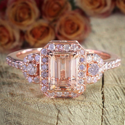 Limited Time Sale 1.25 Carat Morganite (emerald cut Morganite) Diamond Engagement Ring