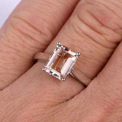 1.00 Carat Desinger Emerald Cut Peachy Pink Morganite Engagement Ring on 10k White Gold on Sale