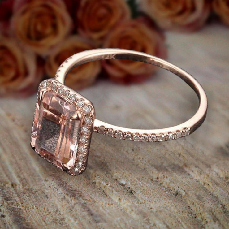 Unique Emerald Cut 1.50 Carat Peach Pink Morganite and Diamond Engagement Ring in 10k Rose Gold