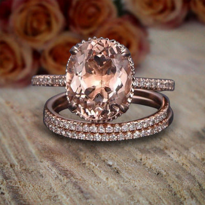 ArtDeco 2 carat Morganite and Diamond Trio Ring Set in 10k Rose Gold