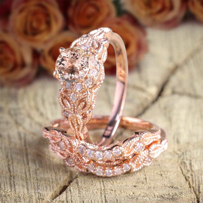 2 carat Morganite and Diamond Trio Ring Set , 1 Engagement Ring and 2 Wedding Bands