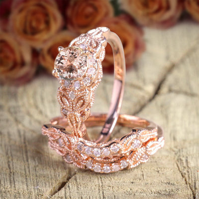 2 carat Morganite and Diamond Trio Ring Set in 10k Rose Gold, 1 Engagement Ring and 2 Wedding Bands