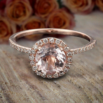 Limited Time Sale Antique 1.25 carat Morganite and Diamond Halo Engagement Ring in 10k Rose Gold