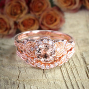 Limited Time Sale 1.50 carat Round Cut Morganite Diamond Halo Bridal Wedding Ring Set in Rose Gold