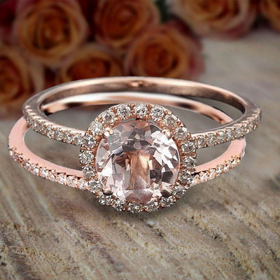 Limited Time Sale 1.50 carat Round Cut Morganite and Diamond Halo Bridal Wedding Ring Set Rose Gold