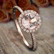 Limited Time Sale 1.50 carat Round Cut Morganite and Diamond Halo Bridal Wedding Ring Set