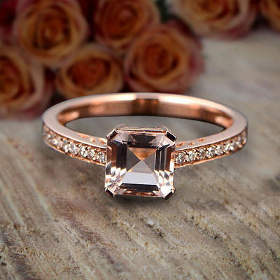 Antique Design 1.25 carat Princess Cut Morganite and Diamond Engagement Ring Sale