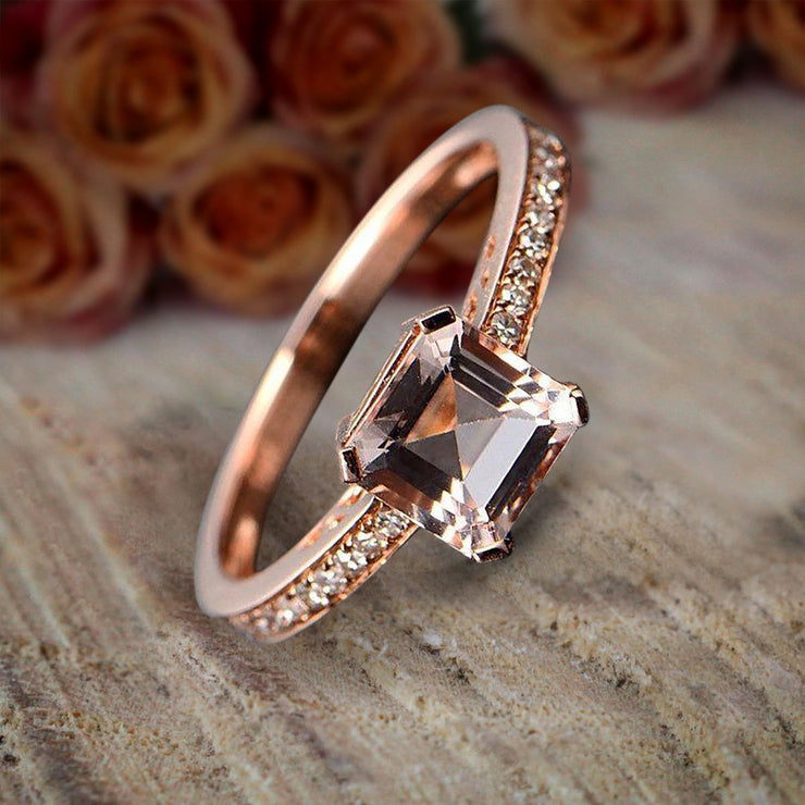 Antique Design 1.25 carat Princess Cut Morganite and Diamond Engagement Ring in 10k Rose Gold Sale