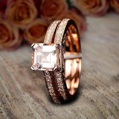 1.50 carat Princess Morganite and Diamond Bridal Wedding Ring Set in Rose Gold Bestselling Design