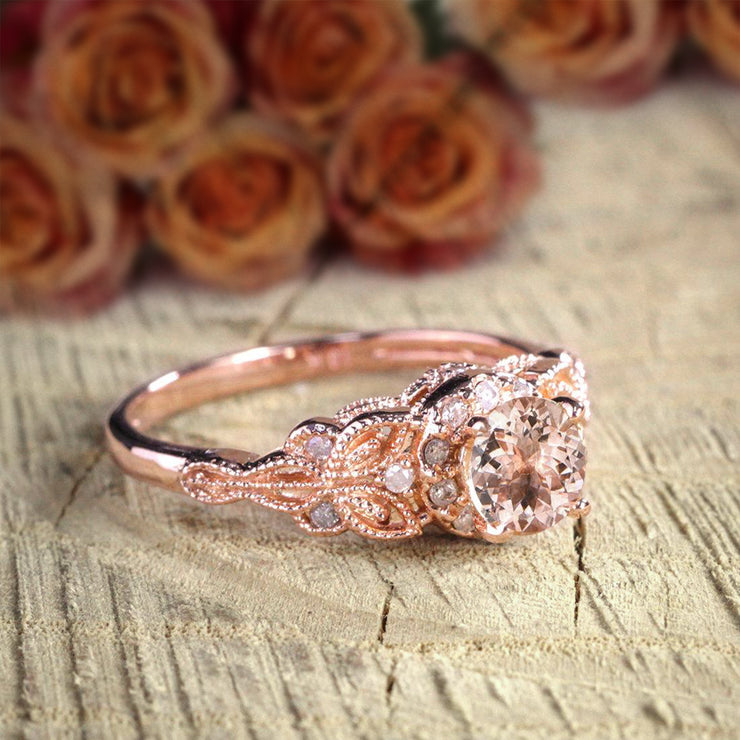 Round Cut 1.25 Carat Peach Pink Morganite Diamond Engagement Ring 10k Rose Gold Jewelry