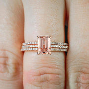 Sale 2 carat Morganite and Diamond 3 Rings Set 10k Rose Gold, 1 Engagement Ring and 2 Wedding Bands