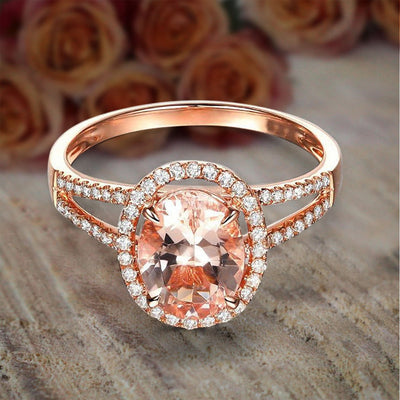 Limited Time Sale 1.50 carat Oval Cut Morganite and Diamond Halo Engagement Ring