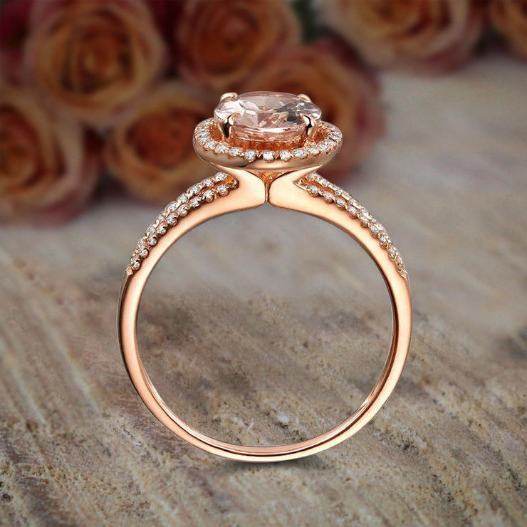 Limited Time Sale 1.50 carat Oval Cut Morganite and Diamond Halo Engagement Ring in 10k Rose Gold