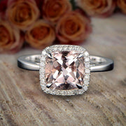 1.25 Carat Cushion Cut Peach Pink Morganite and Diamond Halo Engagement Ring 10k White Gold on Sale