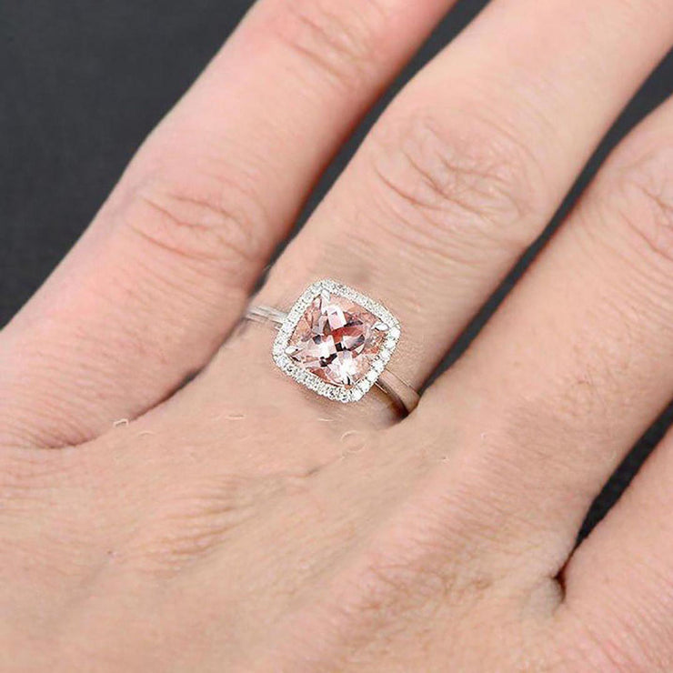 Details about  /2ct Cushion Cut Peach Morganite Twist Halo Engagement Ring 14k White Gold Over