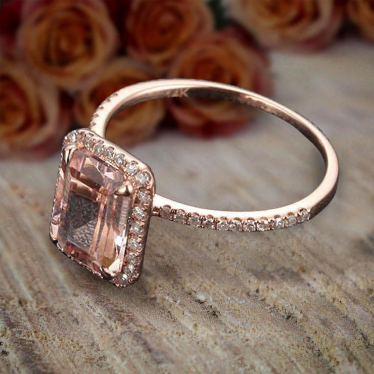 Limited Time Sale: 1.50 Carat Peach Pink Emerald Cut Morganite Diamond Engagement Ring 10k Rose Gold