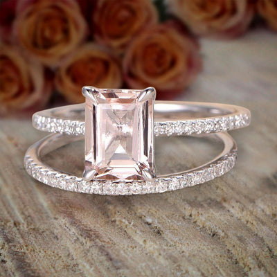 1.5 Carat Peach Pink Emerald Cut Morganite Diamond Engagement Ring Wedding Bridal Set