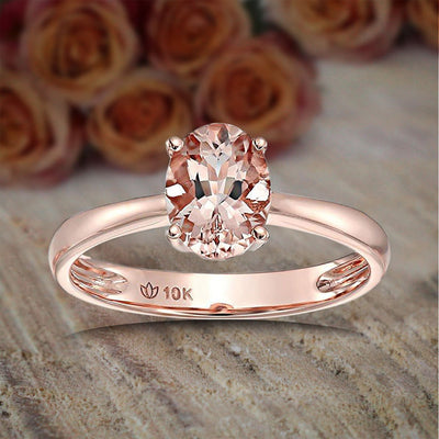 Limited Time Sale 1 carat Morganite (Oval cut Morganite) Solitaire Engagement Ring