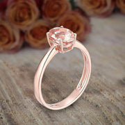 Limited Time Sale 1 carat Morganite (Oval cut Morganite) Solitaire Engagement Ring in 10k Rose Gold