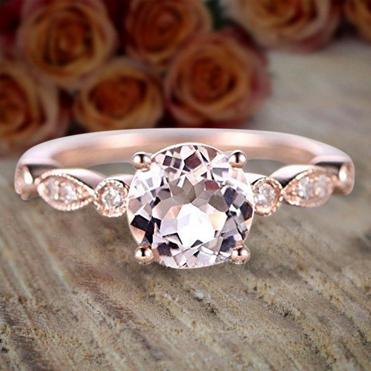 Antique Design 1.25 Carat Round Cut Morganite and Diamond Engagement Ring in 10k Rose Gold Jewelry