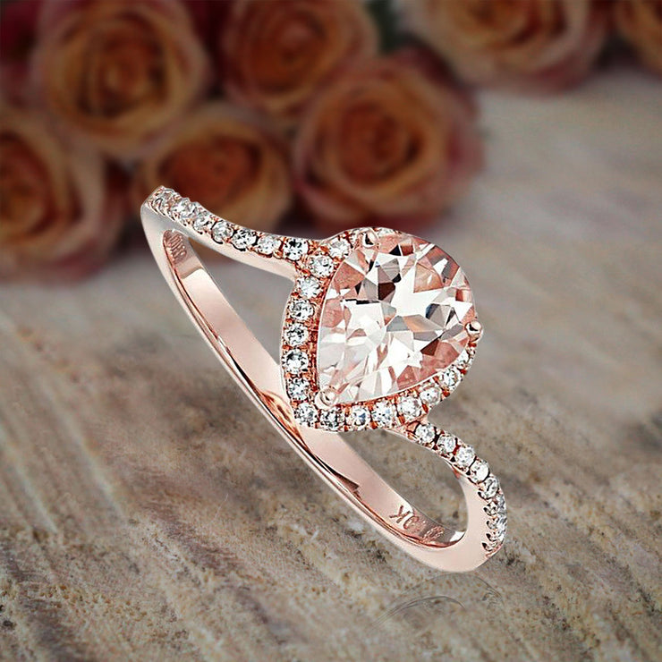 1.25 Carat Peach Pink Morganite (pear cut Morganite) and Diamond Engagement Ring in 10k Rose Gold