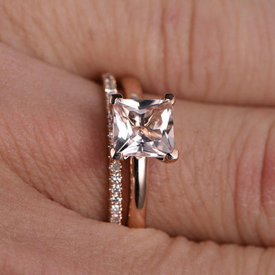 Perfect Bridal Set on Sale 1.25 carat Princess Cut Morganite and Diamond Bridal Set on 10k Rose Gold