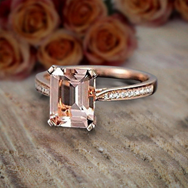1.25 Carat Peach Pink Morganite (emerald cut Morganite) and Diamond Engagement Ring