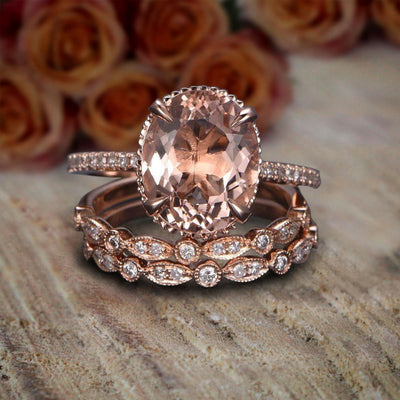 Limited Time Sale 2 carat Morganite and Diamond Trio Ring Set in 10k Rose Gold with One Engagement Ring and 2 Wedding Bands