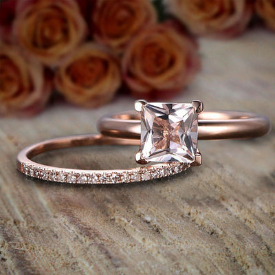 1.25 Carat Princess Cut Morganite and Diamond Engagement Bridal Wedding Ring Set