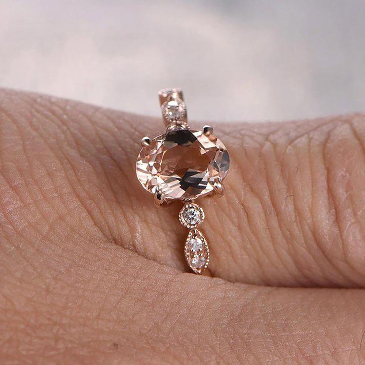 Limited Time Sale 1.25 carat Oval Cut Morganite and Diamond Engagement Ring in 10k Rose Gold