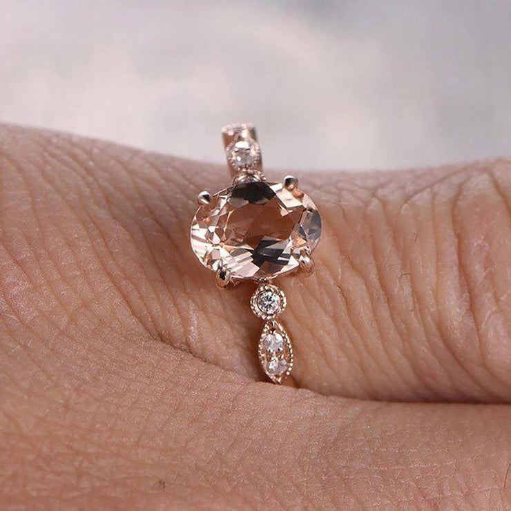 Limited Time Sale 1.25 carat Oval Cut Morganite and Diamond Engagement Ring