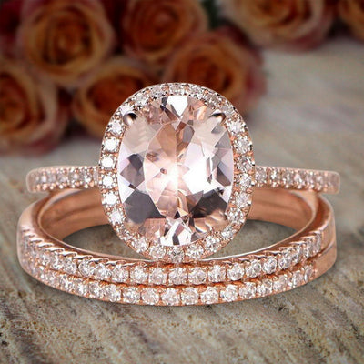 2 carat Morganite and Diamond Trio Ring Set in 10k Rose Gold for her