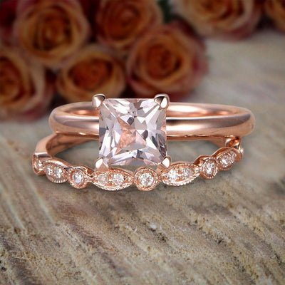 1.25 Carat Princess Cut Morganite & Diamond Engagement Bridal Wedding Ring Set Sale