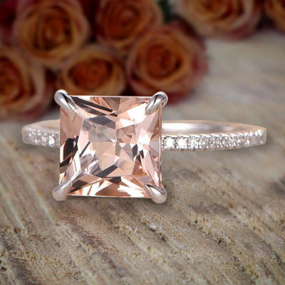 1.25 Carat Peach Pink Morganite (princess cut Morganite) Diamond Engagement Ring