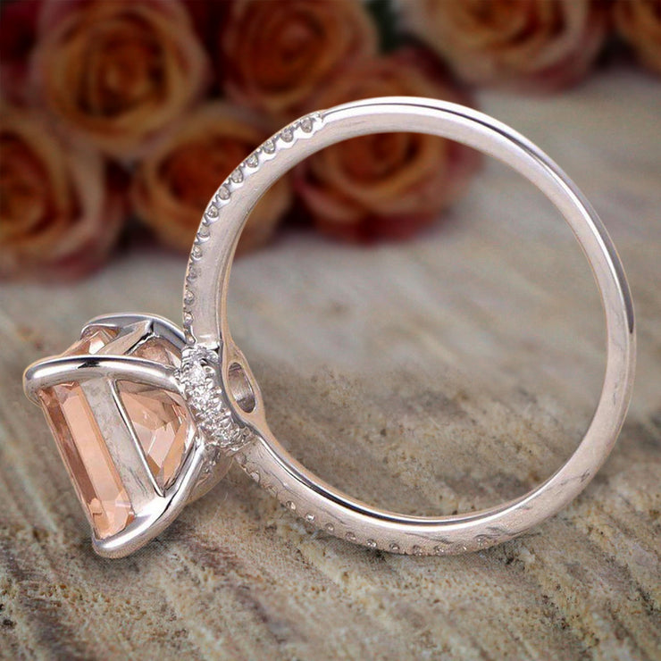 1.25 Carat Peach Pink Morganite (princess cut Morganite) Diamond Engagement Ring in 10k White Gold