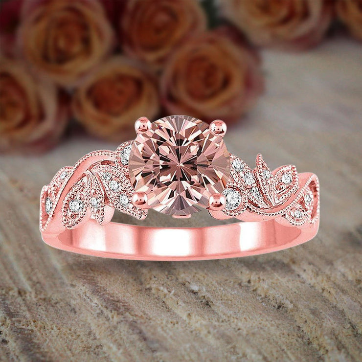 1.50 Carat Round cut Morganite and Diamond Flower Engagement Ring for Women on Sale